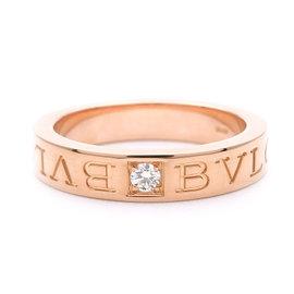 Bulgari 18K Rose Gold with Diamond Double Logo Ring Size 6.25