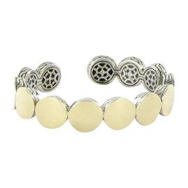 John Hardy Batu Dot 925 Sterling Silver and 18K Yellow Gold Flex Cuff Bracelet