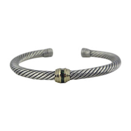 David Yurman 925 Sterling Silver and 14K Yellow Gold with Emerald Cable Classic Bracelet