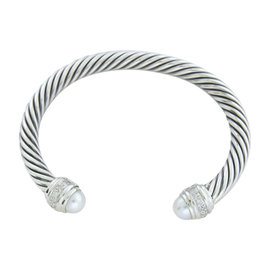David Yurman Classic Cable 925 Sterling Silver Diamonds Pearl Bracelet Size 7