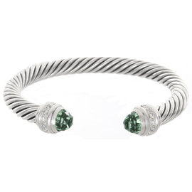 David Yurman 925 Sterling Silver with Diamond & Green Crystals Bracelet