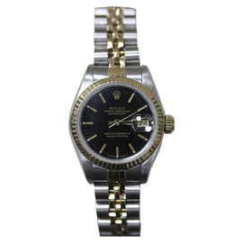 Rolex Datejust 69173 18K Yellow Gold & Stainless Steel Black Dial 26mm Womens Watch