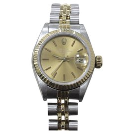 Rolex Date 69173 18K Yellow Gold & Stainless Steel Champagne Dial 26mm Womens Watch