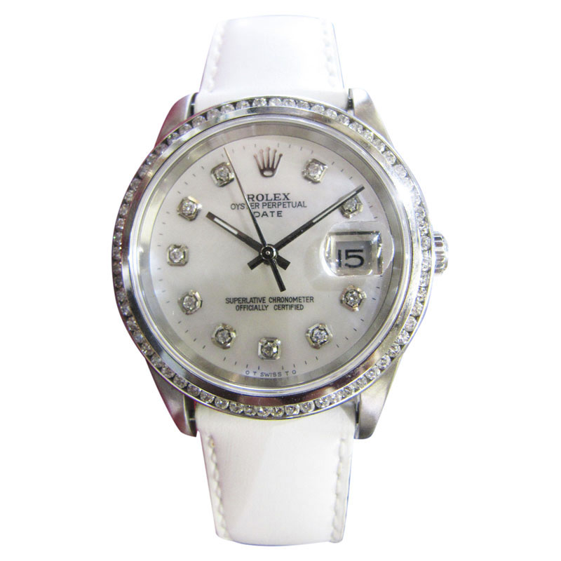 """Image of """"Rolex Date Stainless Steel Mother of Pearl Diamond Dial 34mm Mens"""""""