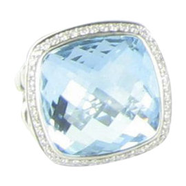 David Yurman Albion 925 Sterling Silver with Blue Topaz and 0.37ct Diamond Ring Size 7