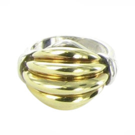 Lagos Caviar 925 Sterling Silver and 18K Yellow Gold Ring Size 7