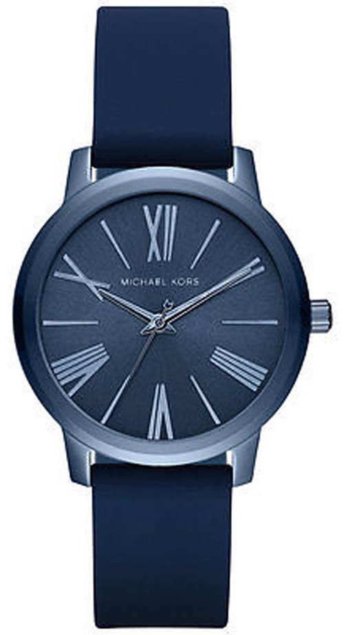 """Image of """"Michael Kors Hartman Mk2639 Stainless Steel / Blue Silicone Strap 36mm"""""""