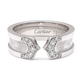 Cartier 750 White Gold & 2C Diamond Ring Size 5.5