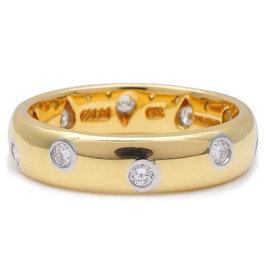 Tiffany & Co. 750 Yellow Gold & 950 Platinum 10P Diamond Dots Ring Size 5.5