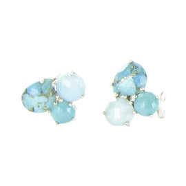 Ippolita Rock Candy 925 Sterling Silver Turquoise Mix Cluster Stud Earrings