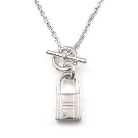 Hermes Cadena 925 Sterling Silver Key Lock Necklace
