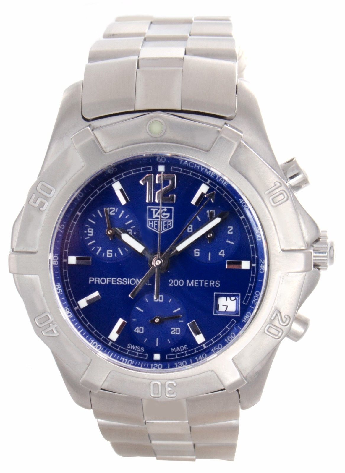"""Image of """"Tag Heuer Professional Cn1112 Blue Dial Stainless Steel Bracelet 40mm"""""""