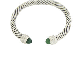 David Yurman 925 Sterling Silver Green Onyx Diamond Cuff Bracelet