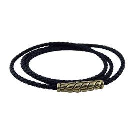 David Yurman Sterling Silver & Leather Chevron Triple-Wrap Bracelet