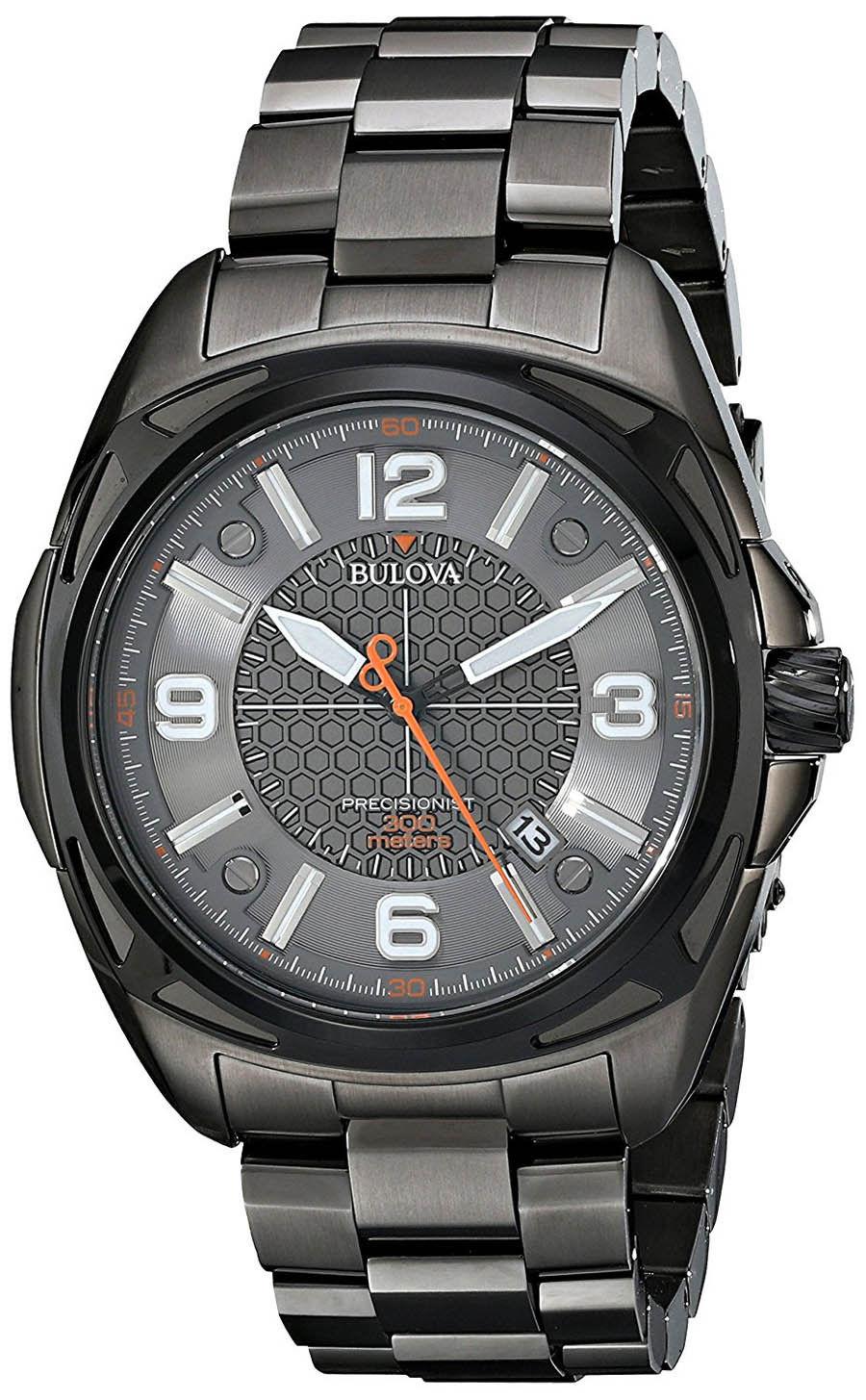 "Image of ""Bulova 98B225 Precisionist Black IP Stainless Steel Grey Dial 48mm"""
