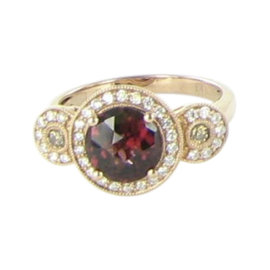 Le Vian Chocolatier 14K Rose Gold with Garnet & 0.31ct. Diamonds Ring Size 7