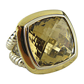 David Yurman 925 Sterling Silver & 18K Yellow Gold with Albion Champagne Citrine Ring Size 6