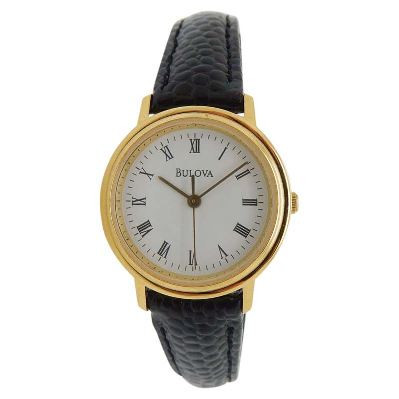 """Image of """"Bulova Gold Plated Stainless Steel & Black Leather Quartz 26mm Womens"""""""