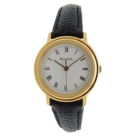Bulova Gold Plated Stainless Steel & Black Leather Quartz 26mm Womens Watch