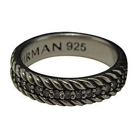 David Yurman 925 Sterling Silver Streamline Diamond Cable Band Ring Size 9.5