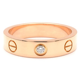 Cartier 18K Rose Gold 1P Diamond Mini Love Ring Size 4.5