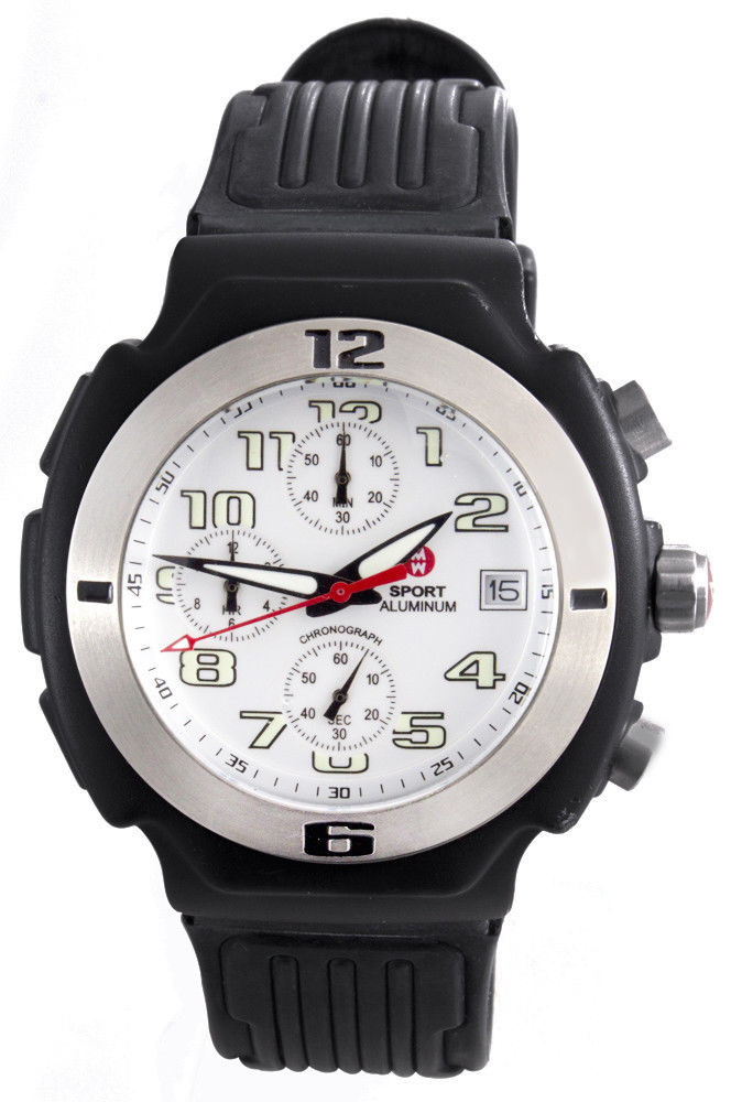 "Image of ""Michele 71-198-A Black Aluminum White Dial 40mm Unisex Watch"""