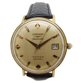 Longines Admiral 5 Star 18K Yellow Gold & Leather Automatic 34.5mm Unisex Watch