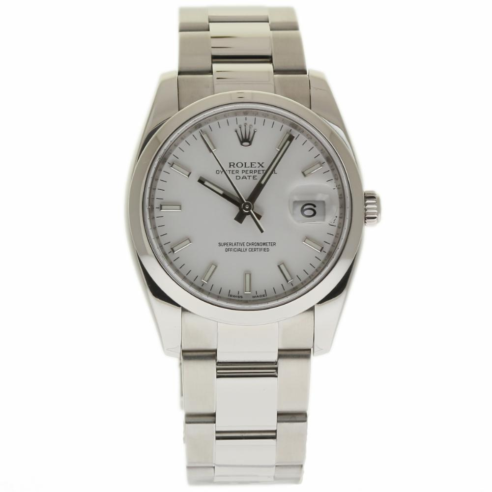 """Image of """"Rolex Date 115200 Stainless Steel White Index Dial Automatic 34mm"""""""