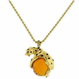 Cartier Panthere De Cartier 18K Yellow Gold Diamond Citrine Garnet Tsavorite Necklace
