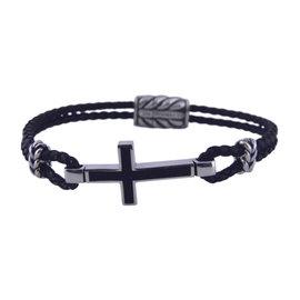 David Yurman 925 Sterling Silver & Leather with Black Onyx Exotic Stone Cross Station Bracelet