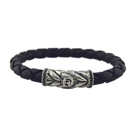 David Yurman 925 Sterling Silver with Black Diamonds Chevron Woven Rubber Bracelet