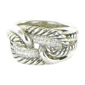 David Yurman Labyrinth 925 Sterling Silver with 0.19ct Diamond Ring Size 7