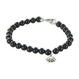David Yurman 925 Sterling Silver with Black Onyx and Diamond Spiritual Bead Bracelet