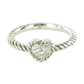 David Yurman Petite Pave 925 Sterling Silver with Diamond Heart Ring Size 6