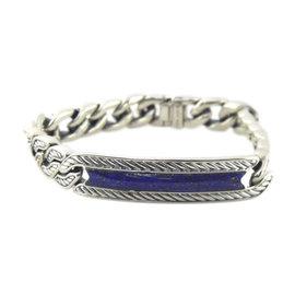 David Yurman 925 Sterling Silver with Lapis Lazuli Maritime Curb Link ID Bracelet