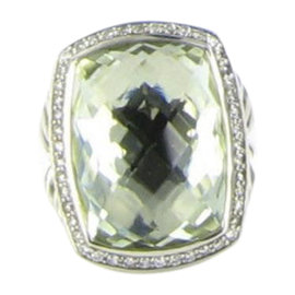 David Yurman Albion 925 Sterling Silver with Prasiolite and Diamond Ring Size 6