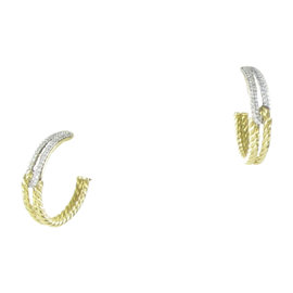 David Yurman 18K Yellow Gold and 0.43ct Diamond Labyrinth Hoop Earrings