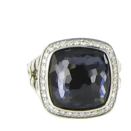 David Yurman Albion 925 Sterling Silver with Amethyst, Hematite and 0.30ct Diamond Ring Size 7