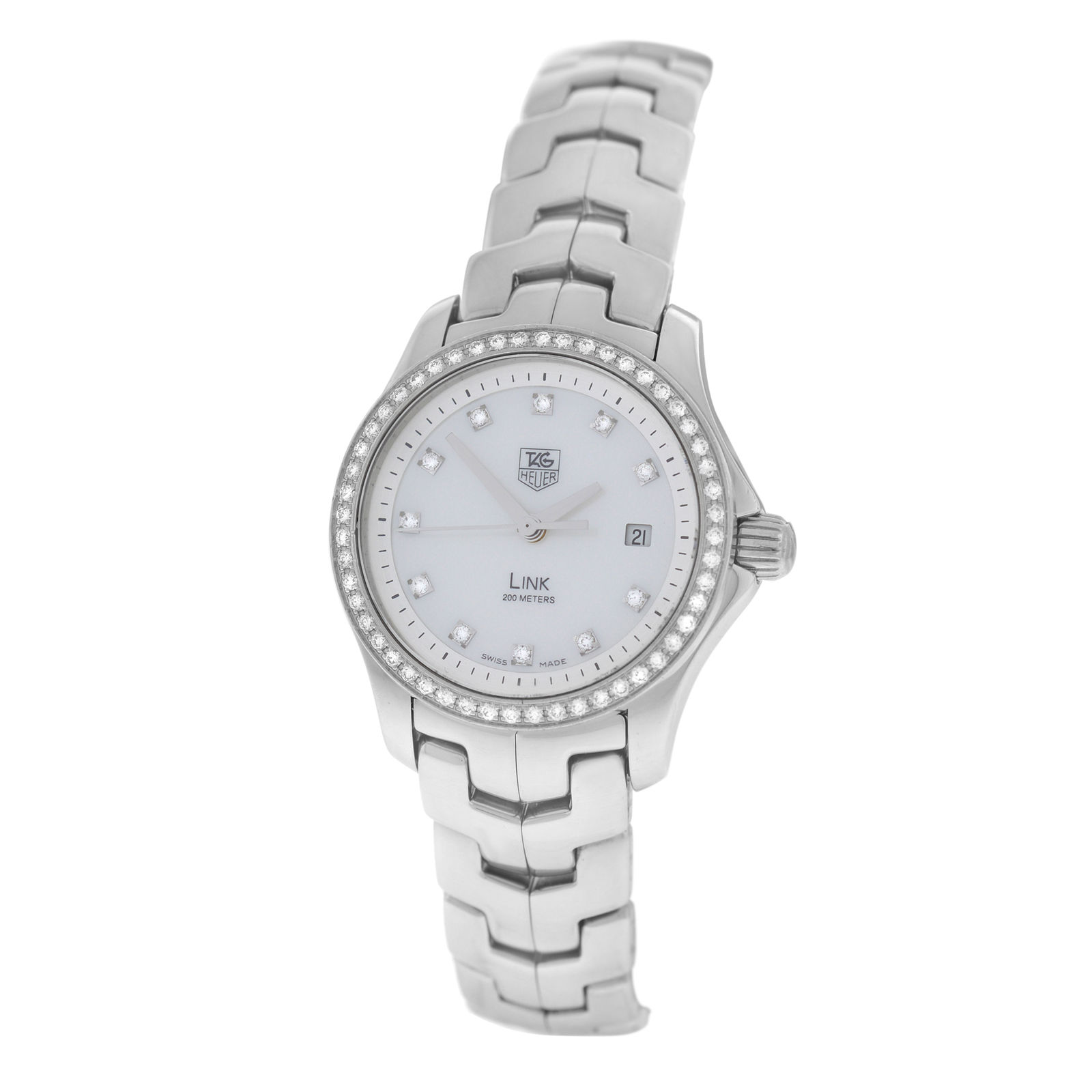 """Image of """"Tag Heuer Link Wjf1319 Stainless Steel Mother of Pearl Diamond Quartz"""""""