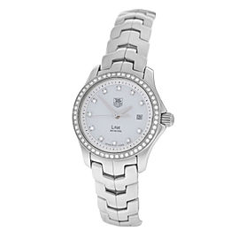 Tag Heuer Link WJF1319 Stainless Steel Mother of Pearl Diamond Quartz Date Womens 27mm Watch