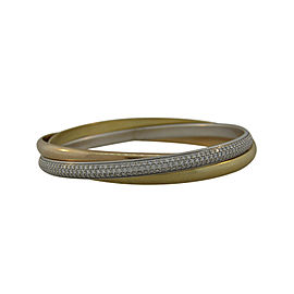 Cartier Three-Tone Gold Trinity 4.00ct. Diamond Bangle Bracelet