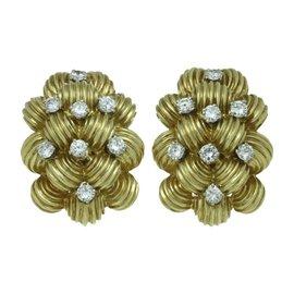 Van Cleef & Arpels 18K Yellow Gold Diamond Clip-on Earrings