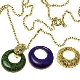 Van Cleef & Arpels 18K Yellow Gold with Diamond Malachite & Lapis Lazuli Pendant Necklace