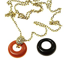 Van Cleef & Arpels 18K Yellow Gold Diamond, Coral and Onyx Pendant Necklace