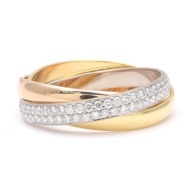 Cartier Trinity 18K White Gold, Yellow Gold and Rose Gold Diamond Ring Size 6.75