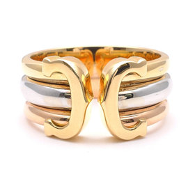 Cartier 18K White Gold, Yellow Gold and Rose Gold 2C Ring Size 6.75