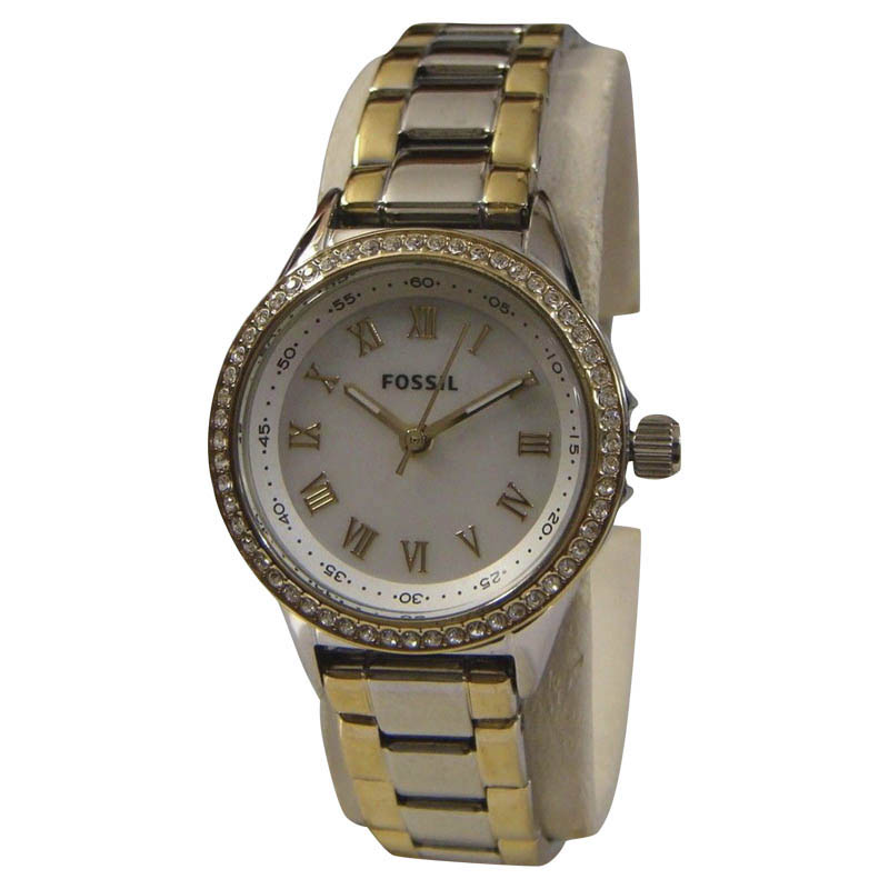 "Image of ""Fossil Bq1099 Two Tone Stainless Steel Quartz 25mm Womens Watch"""