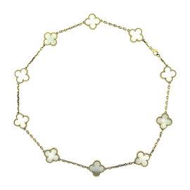 Van Cleef & Arpels Alhambra 18K Yellow Gold Mother of Pearl 10 Motif Necklace