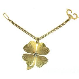 Tiffany & Co. 14K Yellow Gold & Diamond Clover Keychain Pendant Key Ring