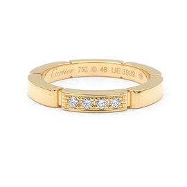 Cartier Maillon Panthère 18K Yellow Gold with 4P Diamond Ring Size 4.5